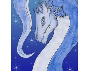 "Dragon Print, ""Aquarto"" 8x10, Blue"