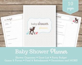 Baby Shower Planner / Shower Organizer / Party Planner / Pregnancy Planner / Woodland Animals