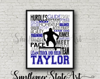 Personalized Hurdler Poster, Hurdles, Hurdle, Gift for Hurdler, Track Team Gift, Track and Field, Track and Field Poster Typography