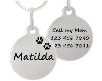 "Double Sided Laser Etched Stainless Steel Pet ID Tag for Dog & Cat Tag Free Engraved and Personalized 1"" Round Shape"