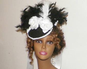 White  Black Gothic Fascinator Victorian Hat  Feather Fascinator Steampunk Lolita Costume Headpiece Old West  Marie Antoinette
