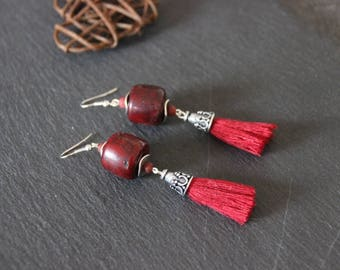 Earrings smart ethnic style, Burgundy Red cotton tassel, marbled Burgundy Horn, silver metal bead