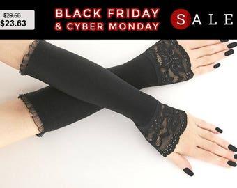 Black long fingerless gloves, arm warmers, gothic victorian, vintage bohemian bridal, evening gloves, goth wedding lolita vampire 01K