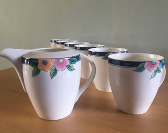 Sweet set of 6 Mikasa Ultima Floral Bliss mugs & creamer white with fun pink yellow blue green flower rims for tropical Old Florida home!