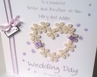 Personalised Handmade Butterfly Flower Heart Wedding Day Card Daughter Son In Law