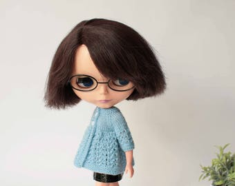 Blythe cardigan, Blue summer vest for Blythe doll from VolnaDollsClother, Hand knitted clothes for 12 inch doll, Summery dress for doll