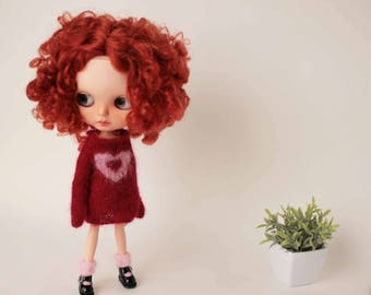Red heart Blythe dress, Luxury Mohair blythe doll sweater, Doll pullover with heart, Jacquard blythe jumper, Collectible doll knitted outfit