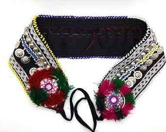 "Tribal Fusion ATS Belly Dance Belt Black Fabric Turkoman Buttons 30"" wide"