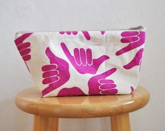 zipper bag // shaka // medium // handprinted // electric purple
