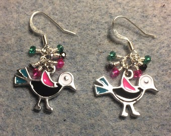 Black, pink, and teal enamel bird charm earrings adorned with tiny dangling black, pink, and teal Chinese crystal beads.