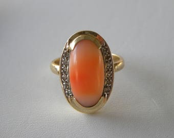 Coral Ring 14kt Gold Pink Coral Salmon Coral Angel Skin Coral Ring 14kt Gold Coral Diamond Ring Vintage Antique Coral Diamond Ring Art Deco