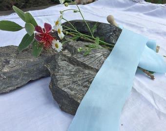 BABY BLUE hand dyed silk habotai ribbon / plant dyed / eco dyed / wedding ribbon / styling ribbon / photo prop / pure silk ribbon