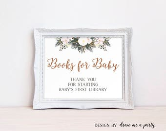 Books For Baby Sign , Winter Baby Shower Book Sign, White Winter First Library , Books For Baby Sign , Printable