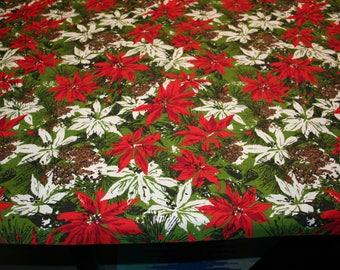 """VTG Christmas Table Cloth , long  Rectangle 112""""x 52"""""""