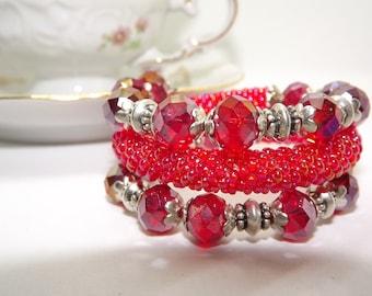 Beaded Cuff/Bracelet/Bangle Bracelet with crystals harmonic/handmade/red armband/crocheted bracelet