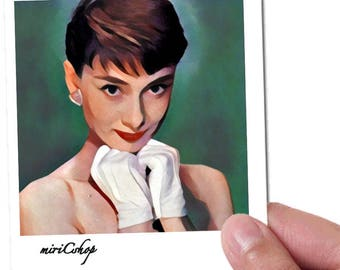 Audrey Hepburn Art Print 10x15 cm with white frame