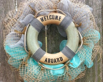 Beach Wreath, Nautical Wreath, Coastal Door hanger, Life Buoy Wreath, Beach door hanger, Sailor wreath, Baby Boy wreath