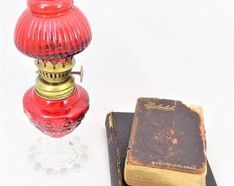 ChristmasinJuly Small Red Glass Oil Lamp, Red and Clear Glass Lamp, Small Collectible Lamp