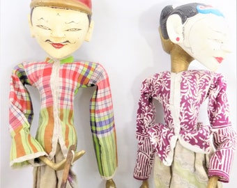 Indonesian Wayang Golek Puppets, Set of 2 Rod Puppets, Semi Refined and Refined, Shadow Puppets