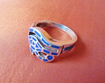 Antique Egyptian Silver Ring Band Adjustable of Ancient EYE OF HORUS..Symbol of protection, Royal Power and Good health...Stamped