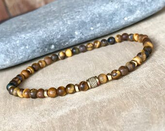 Men's bracelet  Tigers eye bracelet   Slim bracelet  Gift for him Beaded bracelet  (#50)