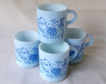 Vintage Pyrex Coffee Mugs Brittany Blue, Set of Four