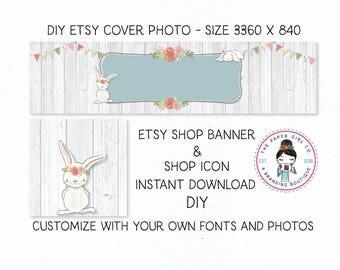 DIY etsy cover set etsy shop set premade DIY etsy set DIY etsy branding set bunny etsy set rabbit etsy set dIY woodland set Instant Download