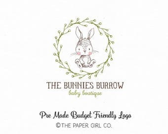 bunny logo rabbit logo premade bunny logo photography logo baby boutique logo children's shop logo sewing shop logo knitting logo design
