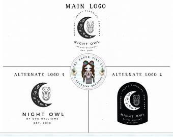 moon logo owl logo photography logo baby shop logo premade logo branding set