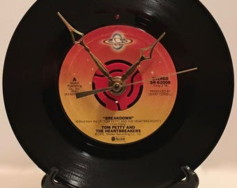 "Recycled TOM PETTY 7"" Record • Song: Breakdown • Record Clock"