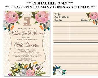 Kitchen Bridal Shower Invitation with Recipe Card, Stock the Kitchen Bridal Shower Invitation, DIY Printable
