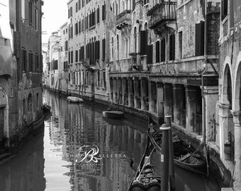 Venice canal print, Venice photography, Venice wall art, Venice black and white print, Italy black and white, Italian wall art, Italy poster