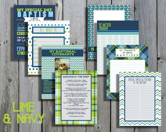 Lime & Navy Boy LDS Baptism Printable Memory Book - Instant Download