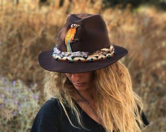 Brown fedora hat- Wide brim Western style Vintage hat Cowboy hat Fashion hat For man For woman