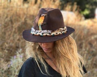 Fedora hat Vintage hat Felt hat Wide brimmed hat Wide brim vintage fedora cowboy hat Wide brim fedora woman's hat spring fashion