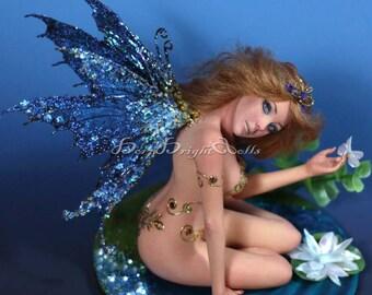 OOAK Sculpture Blue Butterfly Lily Fairy Faerie Fantasy Art Doll Handmade Clay Figurine Realistic Lifelike Original by BBD