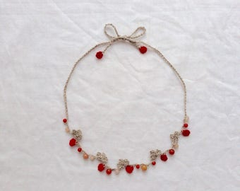 Natural stone Necklace (red)