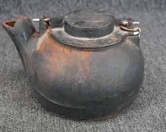 """Vintage Cast Iron Tea Kettle W/ Wire Handle 9 1/2"""" X 7 1/2"""""""