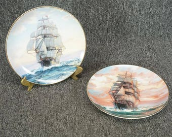"""2 W. S. George Golden Age Of The Clipper Ships Collector Plates 8 1/2"""" C. 1989"""