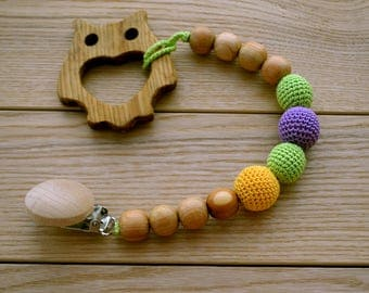 Wood toy - Pacifier clip - Holder pacifiers - teether choice - teething toy - natural wooden teether - personalized clip - baby shower gift