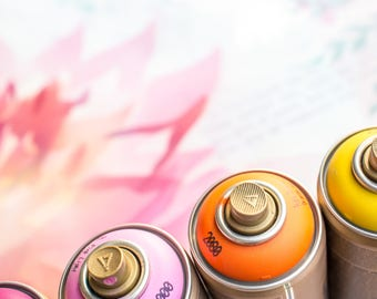 stock photography of paint, spray paint, orange and pink