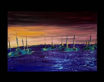 abstract painting modern art boats at dusk