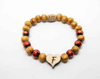 Bracelet in wood and glass heart boyfriends love friendship initial customizable new