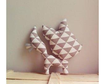 Decoration / toy Fox grey Triangles