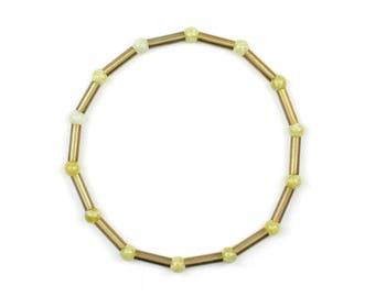 Elastic bracelet - brass bracelet with jade - LEJLA
