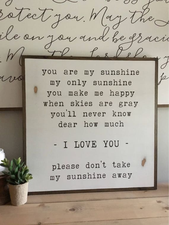 Ready to Ship!! You are my SUNSHINE 2'X2'   song lyrics   distressed painted wall plaque   shabby chic farmhouse decor   framed wall art