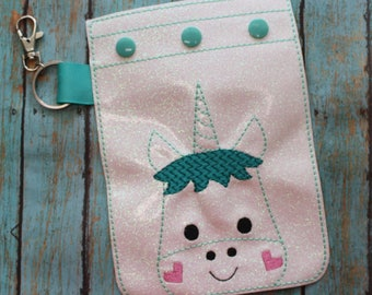 Digital Download Unicorn Vinyl Snap Pouch Embroidery Machine Design for the 5x7 hoop