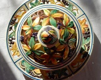 SALE Agostinelli Dal Pra Centerpiece- Antique or Vintage Italian Majolica - Agostinelli & Dal Pra Italian Pottery - Nove Italy Majolica Bowl
