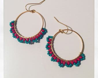 Hoop earrings plated gold and red and turquoise beads