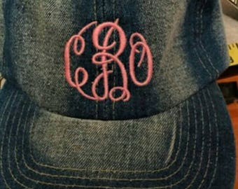 Dark denim hat with monogramming